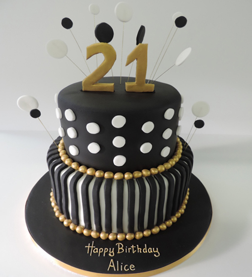 Classic and modern birthday cake