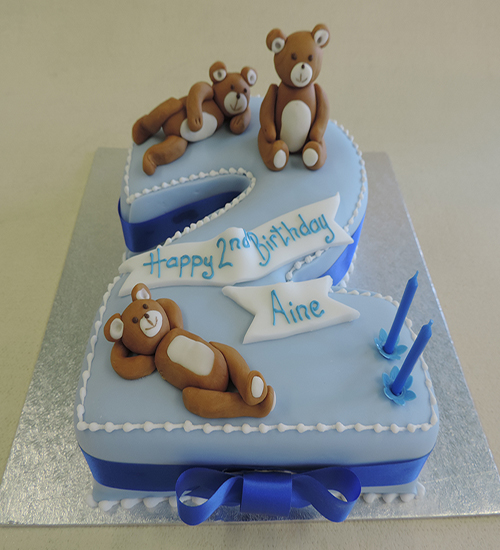 Number shaped childs celebration cake