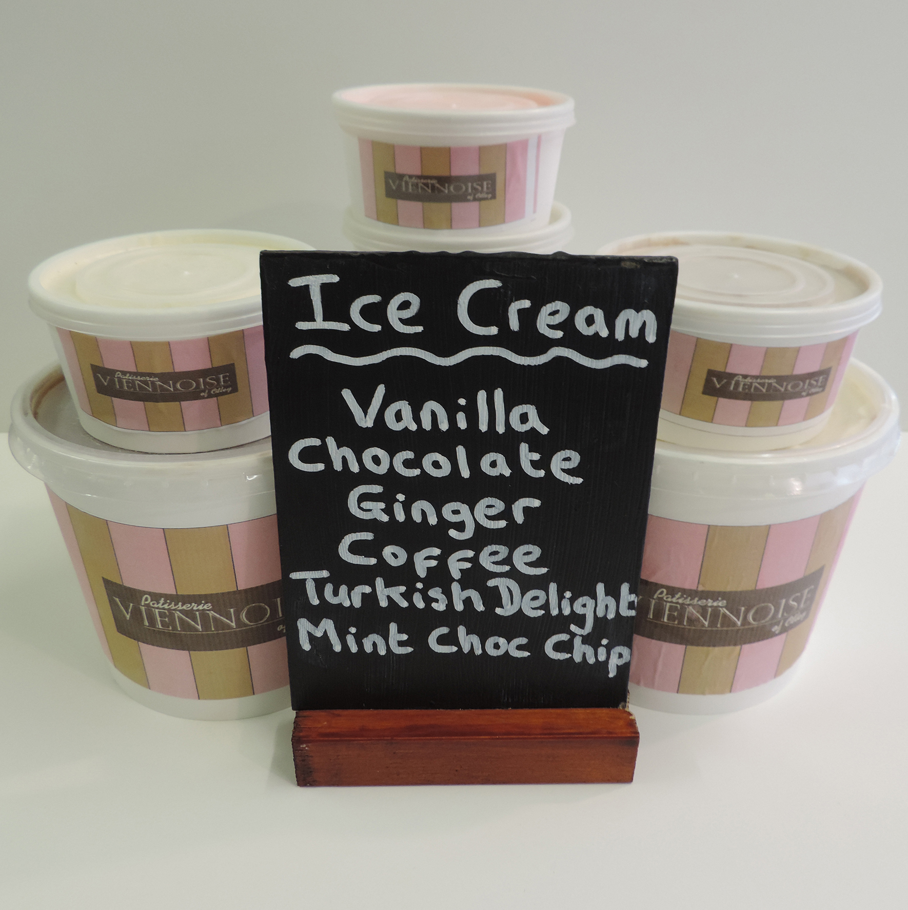 Selection of ice cream available at Patisserie Viennoise Otley